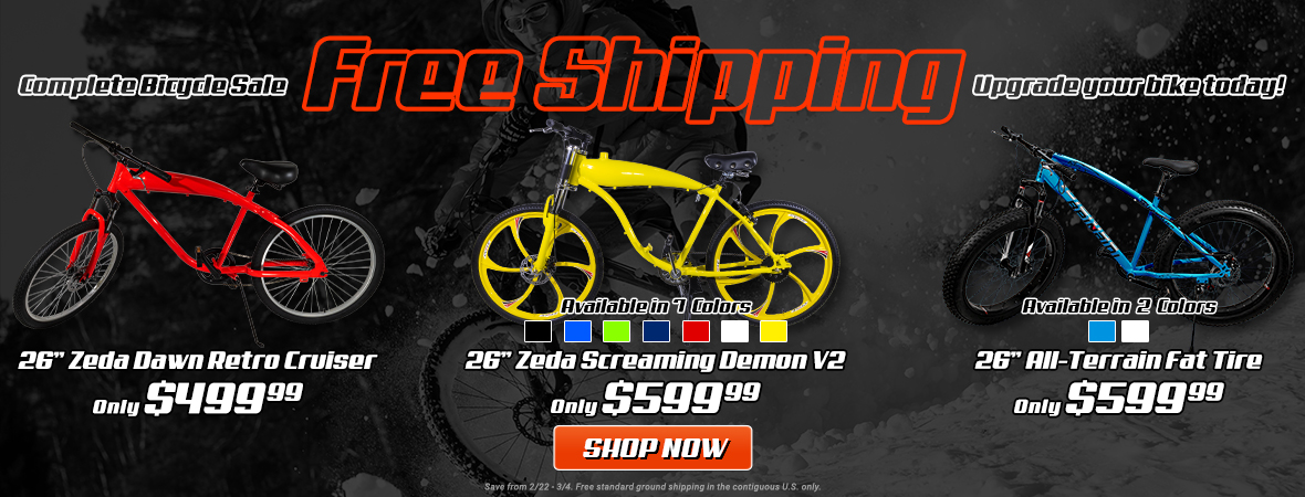 Free Shipping on Select Engine-Ready Bicycles!